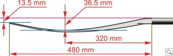 Размеры весла Brača Slalom Soča